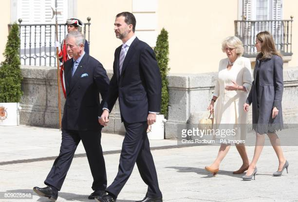 The Prince of Wales Prince Felipi The Duchess of Cornwall and Princess Asturias Letizia during a reception at the Palacio De El Pardo in Madrid Spain