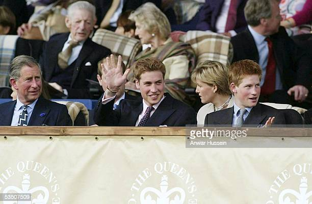 The Prince of Wales Prince William and Prince Harry watch a pop concert in celebration of the Queen's Golden Jubilee in the gardens of Buckingham...