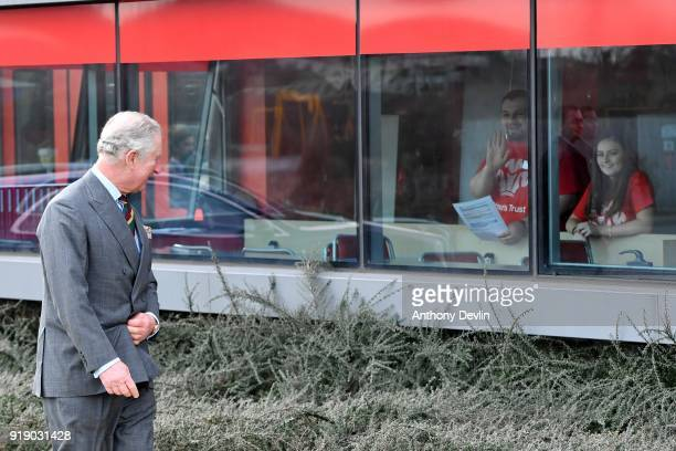 The Prince of Wales reacts as students welcome his arrival to Dearne Community Fire Station on February 16 2018 in Rotherham United Kingdom The Fire...