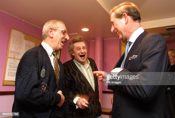 The Prince of Wales shares a laugh with residents Leonard Door and Derek Jennings at St Mungo's hostel for the homelessThe Prince spoke to several...