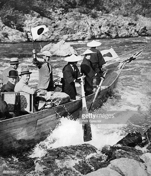 The Prince of Wales shooting the rapids at Kyoto Japan 1922 The future King Edward VIII waves the Japanese flag Illustration from George V and Edward...