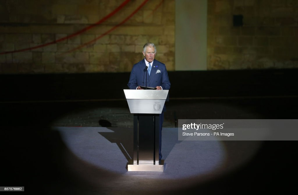 The Prince of Wales speaks at the 75th Anniversary Commemorations of the awarding of The George Cross to the Isle of Malta, during a visit to the country.