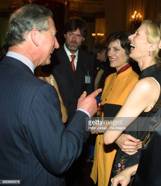 The Prince of Wales talks to actress Joely Richardson at the launch at Buckingham Palace of 'Arts Kids' which encourages young people to engage with...