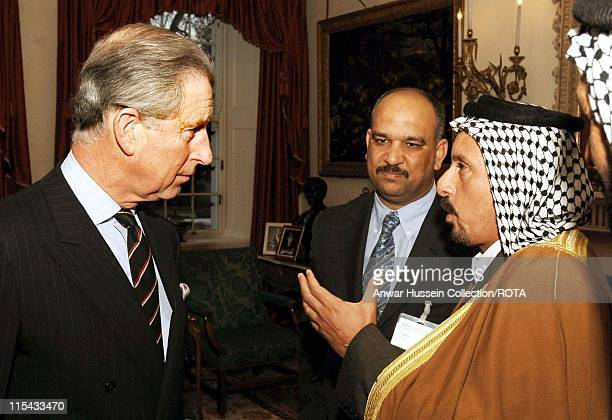 The Prince of Wales talks to Al Sheikh Hadam Safam Mohan at a reception for Marsh Arabs at Clarence House Thursday March 2 2006