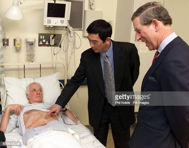 The Prince of Wales talks to docters after he observed a liver scan of patient Stephen White on the Liver Cancer ward at the University Hospital...