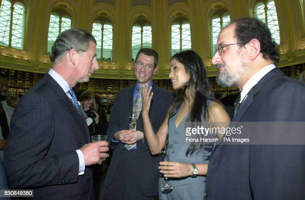 The Prince of Wales talks to Padma Lakshmi the girlfriend of author Salman Rushdie and Sunday Telegraph columnist Mark Sanderson at the Round Reading...