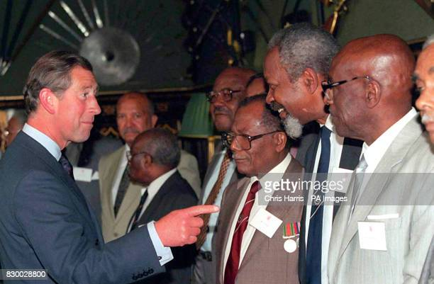 The Prince of Wales talks to Windrush veteran Albert Alphonse , at a St James's Palace reception today to mark the 50th anniversary of the arrival in...