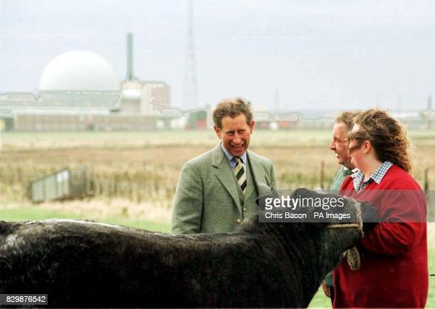 The Prince of Wales talks with Adam Gunn who owms a beef farm near the AEA Technology site at Dounreay near Thorso in Caithness Photo by Chris...