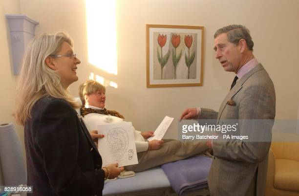 The Prince of Wales talks with Nadia Brydon and patient Julia Higgs during his visit to the Haven Trust's therapy centre for victims of breast cancer...