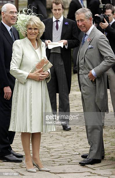 The Prince Of Wales The Duchess Of Cornwall Attend The Wedding Of Laura Parker Bowles Harry Lopes At St Cyriacs Church Lacock Wiltshire