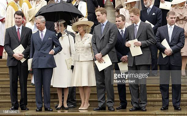 The Prince Of Wales The Duchess Of Cornwall Prince William Prince Harry The Duke Of York Princess Anne Tim Laurence Peter Phillips Attend A...