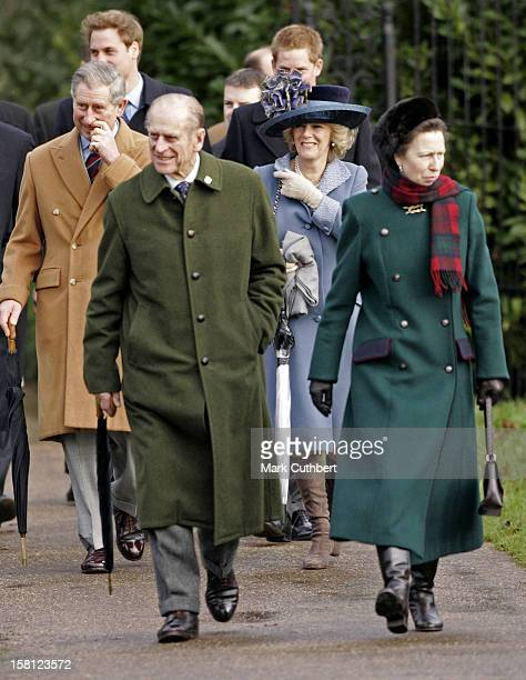 The Prince Of Wales, The Duchess Of Cornwall, Princess Anne, Prince William, Prince Harry & The Duke Of Edinburgh Attend The Christmas Day Service At...