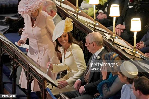 The Prince of Wales the Duchess of Cornwall the Duchess of Cambridge the Duke of York Princess Beatrice and Princess Eugenie at St George's Chapel on...
