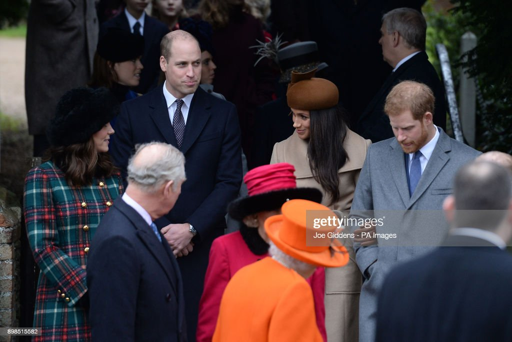 The Prince of Wales, the Duke and Duchess of Cambridge, Meghan Markle and Prince Harry leave the Christmas Day morning church service at St Mary Magdalene Church in Sandringham, Norfolk.