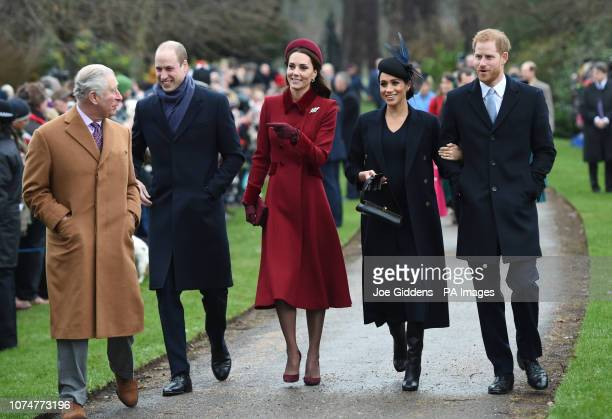 The Prince of Wales the Duke of Cambridge the Duchess of Cambridge the Duchess of Sussex and the Duke of Sussex arriving to attend the Christmas Day...