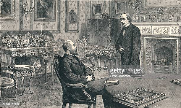 The Prince of Wales visiting Lord Beaconsfield at Hughenden Manor, 1896. From 1848 Hughenden Manor was the home of British Prime Minister, Benjamin...