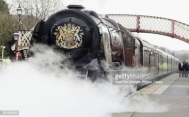 The Prince of Wales visits Kirkby Stephens station on the Settle to Carlisle line in Cumbria on a steampowered Royal Train pulled by the Duchess of...
