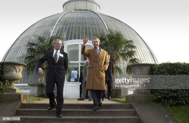 The Prince of Wales walks with Professor Peter Crane during a visit to Kew Botanical Gardens west London * The prince was opening the Nash...