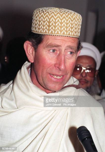 The Prince of Wales wearing traditional cap and shawl during a visit to Mohammedi Park Masjic Complex in Rowdell Road Northolt * The Prince was...