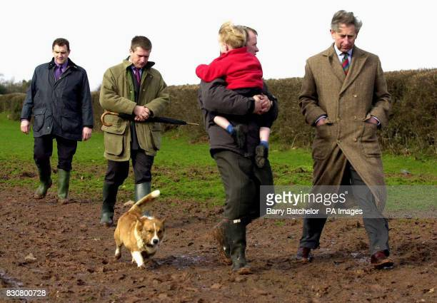 The Prince of Wales wearing unsuitable footwear for his walk at the Cantref Riding Centre in the Brecon Beacons midWales accompanied by owner Colin...