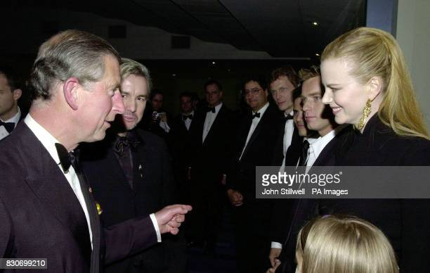 The Prince of Wales with film stars Nicole Kidman and Ewan McGregor at the Moulin Rouge premiere at the Odeon cinema in Leicester Square in London *...