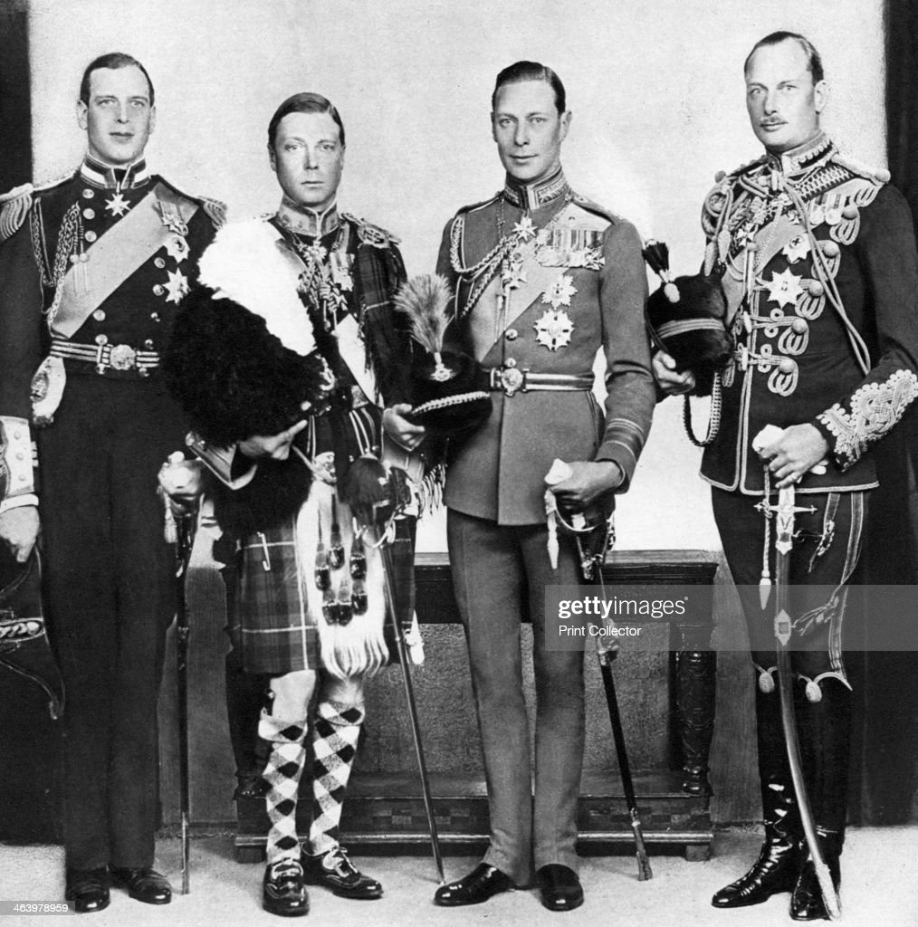 The Prince of Wales with his brothers, c1930s. The future King Edward VIII with the Duke of York (the future King George VI), Prince Henry, Duke of Gloucester and Prince George, Duke of Kent. Illustration from George V and Edward VIII, A Royal Souvenir, by FGH Salusbury, a souvenir book published as Edward VIII was crowned following the death of his father, George V, (Daily Express Publication, London, 1936).