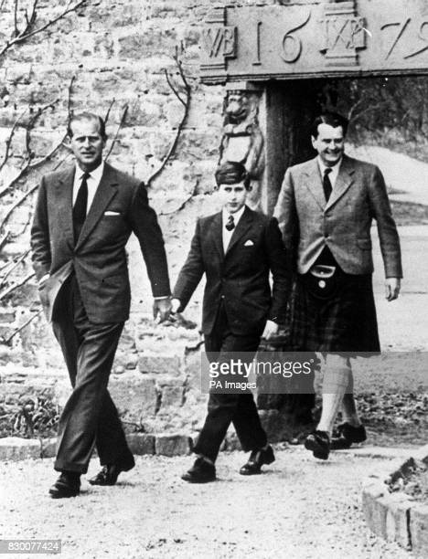 The Prince of Wales with his father the Duke of Edinburgh and Captain Iain Tennant Chairman of the Gordonstoun Board of Governors arriving at...