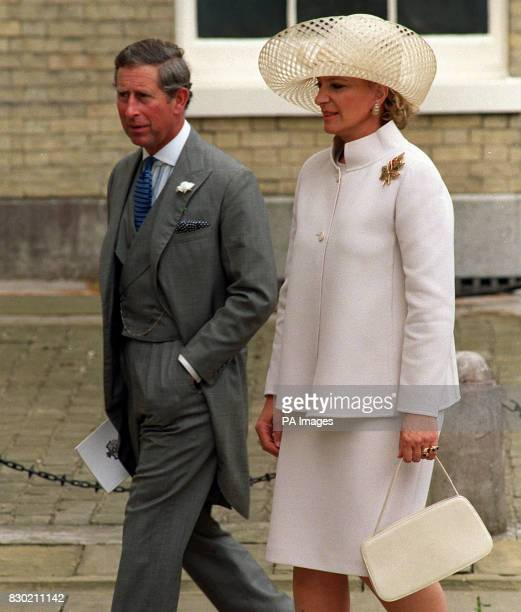 The Prince of Wales with Princess Michael of Kent arriving at the reception of Princess Alexia of Greece marriage to Carlos Morales Quintana at...