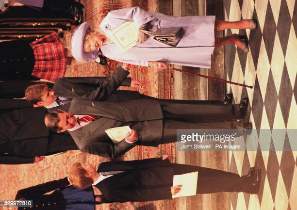 The Prince of Wales with sons Princes William and Harry and the Queen Mother attend Westminster Abbey for today's thanksgiving service for the Queen...