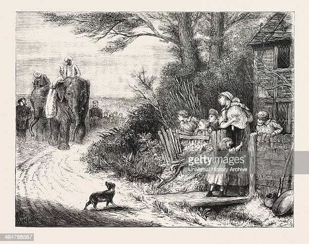 The Prince Of Wales's Menagerie The Elephants ' Salar And Jung Being Brought To London By Road Engraving 1876 UK Britain British Europe United...
