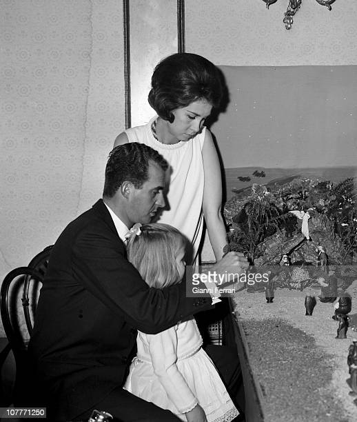 The princes Juan Carlos of Borbon and Sofia of Greece celebrate Christmas 1967 at the Zarzuela Palace with her daughter Cristina Madrid Spain
