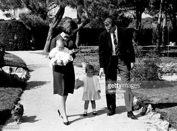 The princes Juan Carlos of Borbon and Sofia of Greece in the gardens of the Zarzuela Palace with his daughters Cristina and Elena Madrid Spain