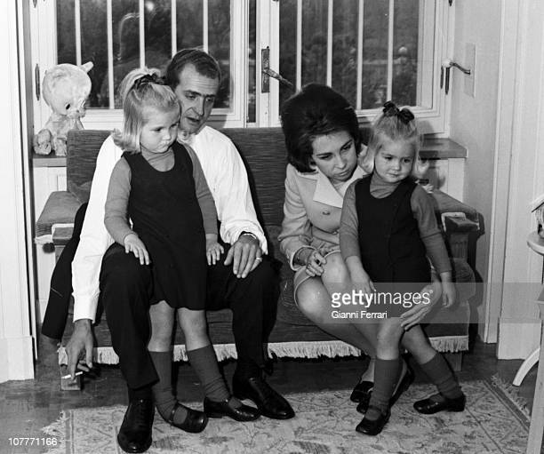 The princes Juan Carlos of Borbon and Sofia of Greece in the Zarzuela Palace with their daughters Elena and Cristina Madrid Spain