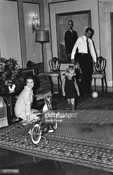 The princes Juan Carlos of Borbon and Sofia of Greece in the Zarzuela Palace with their daughter Cristina Madrid Spain