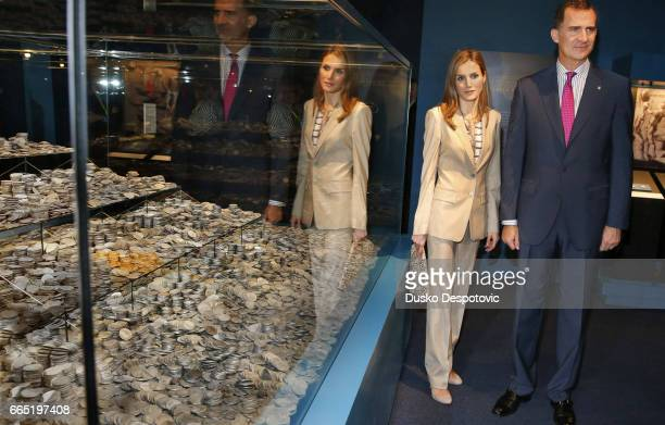 The Princes of Asturias during the inauguration of the exhibition The last voyage of the frigate Nuestra Señora de las Mercedes in the National...