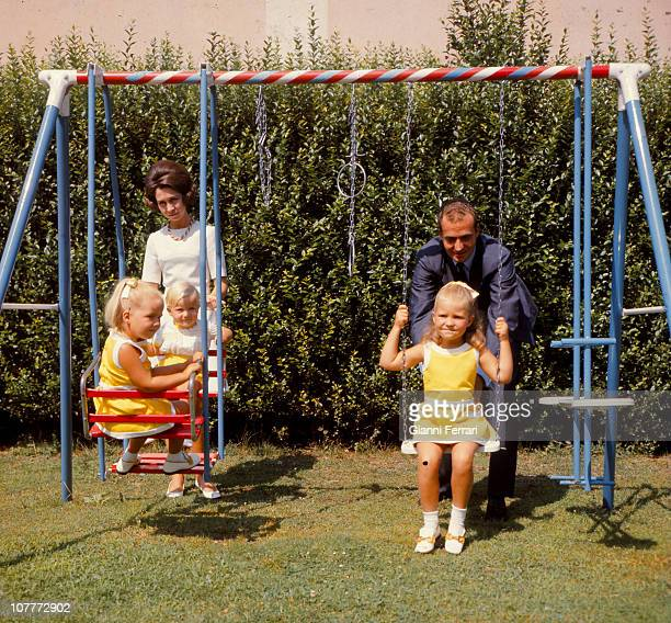 The princes of Spain Juan Carlos and Sofia of Borbon witth their three sons Cristina Felipe and Elena in the garden of the Palace of Zaruela Madrid...