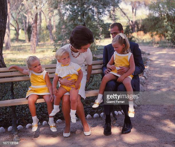 The princes of Spain Juan Carlos and Sofia of Borbon witth their three sons Cristina Felipe and Elena in the garden of the Xarzuela Palace 1969...