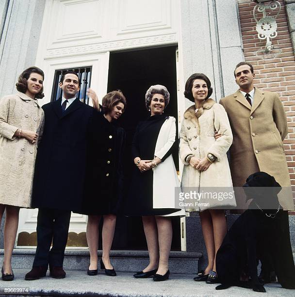 The princes of Spain Juan Carlos and Sofia with Federica of Greece Constantine of Greece Irene of Greece and Anna Maria of Greece in Madrid 1968