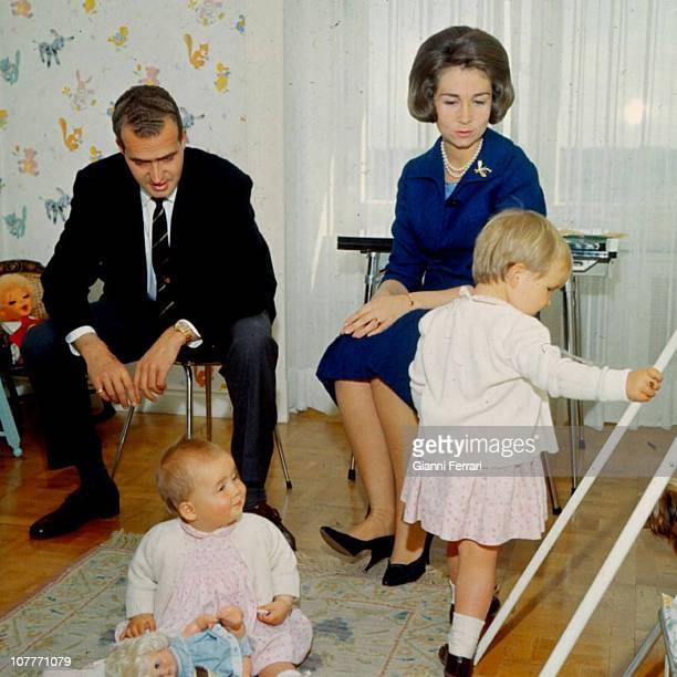 The Princes of Spain Juan Carlos of Borbon and Sofia of Greece in the Zarzuela Palace with their daughters Cristina and Elena Madrid Spain