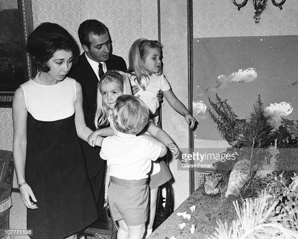 The princes of Spain Juan Carlos of Borbon and Sofia of Greece with their three sons Cristina Felipe and Elena at Christmas in the Zarzuela Palace...