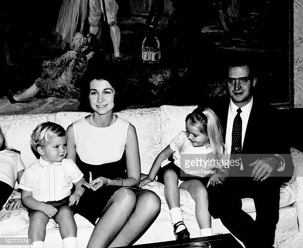 The princes of Spain Juan Carlos of Borbon and Sofia of Greece with their three sons Elena Felipe and Cistina at Christmas in the Zarzuela Palace...