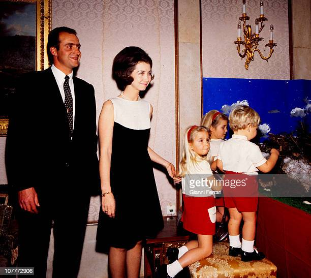 The princes of Spain Juan Carlos of Borbon and Sofia of Greece with their three sons Cristina Elena and Felipe at Christmas in the Zarzuela Palace...