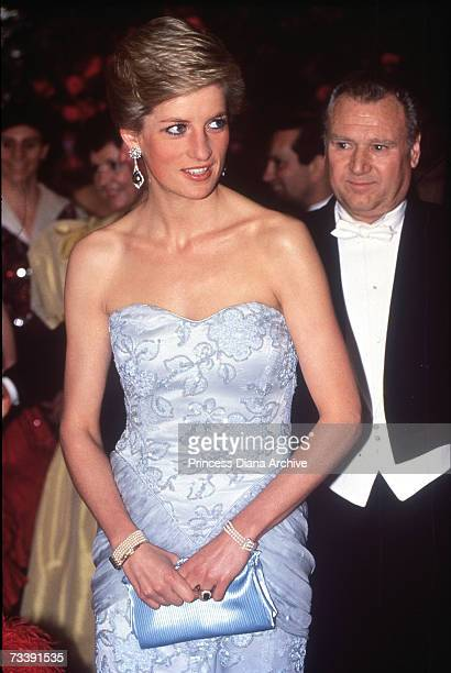 The Princes of Wales wearing a pale blue strapless Catherine Walker gown attending a ball for the Birthright charity at the Savoy Hotel London March...