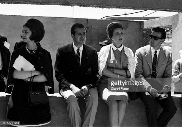 The princes Sofia of Greece and Juan Carlos of Borbon Pilar sister of Prince Juan Carlos and Luis Gomez Acebo husband of Pilar in the Jarama...