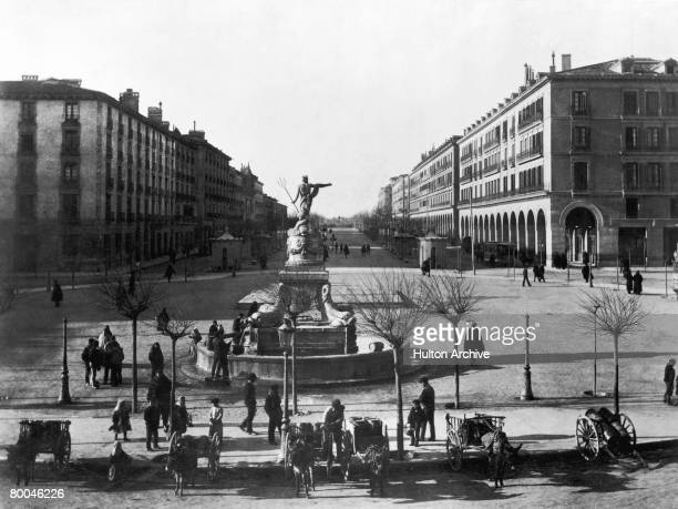 The Princesa Fountain or Neptuno Fountain in the Plaza de Espana Zaragoza in northeastern Spain circa 1890 Behind the fountain is the Paseo de la...