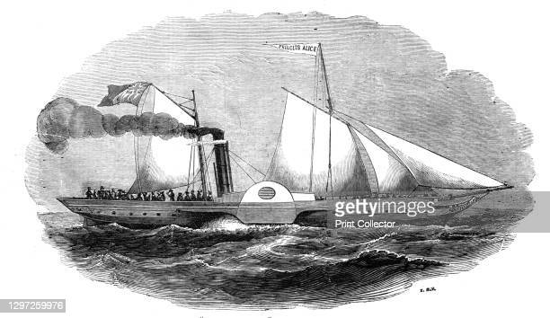 """The Princess Alice, government steamer, 1844. Prince Albert travels to Germany. From """"Illustrated London News"""" Vol I. Artist Unknown."""