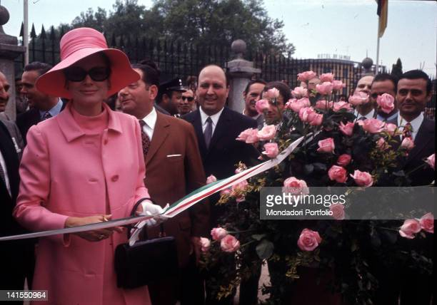 The Princess and American actress Grace Kelly opening the Fifth Rose Show at the Villa Reale Niso Fumagalli Rose Garden Monza 1970
