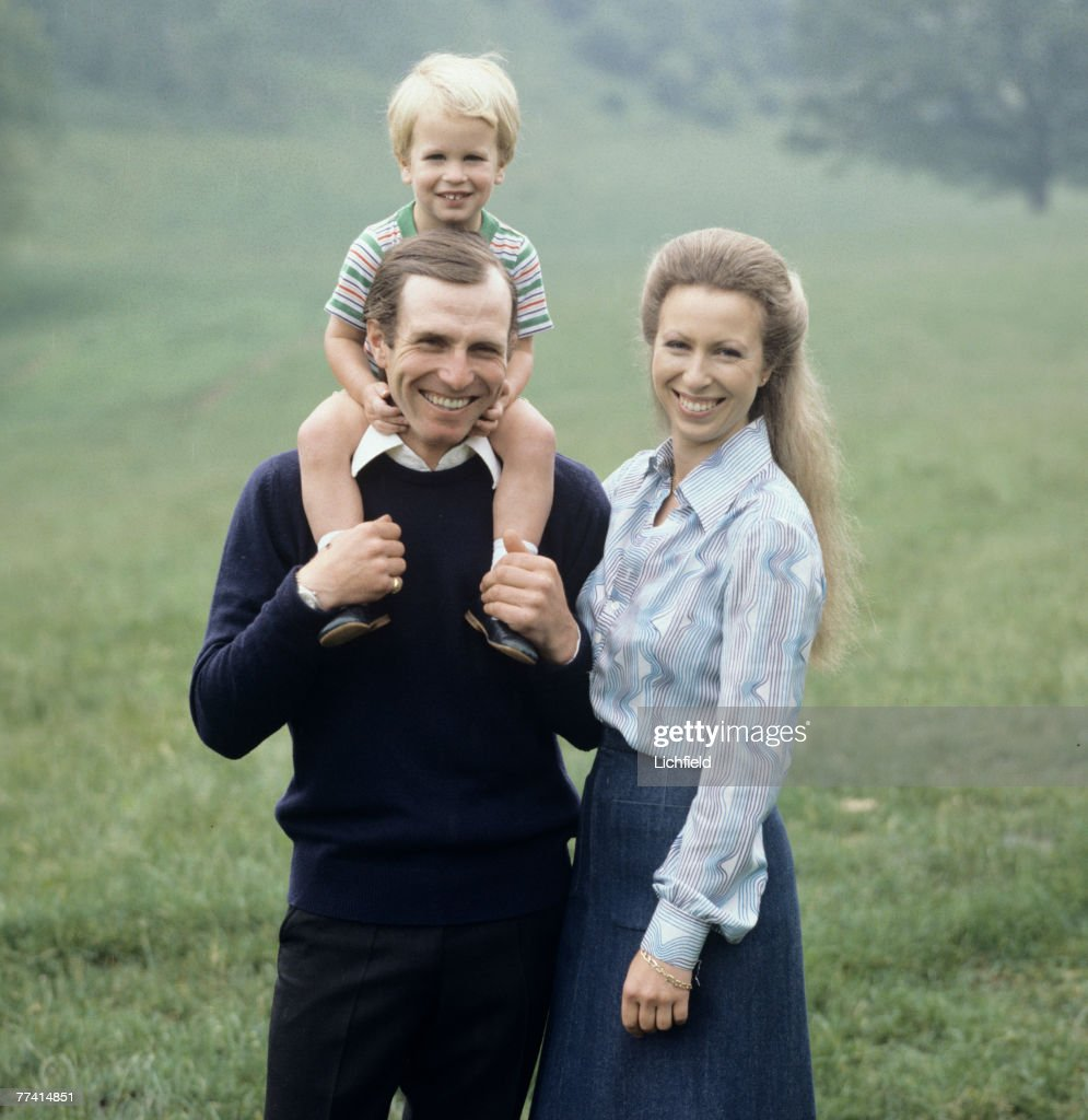 HRH The Princess Anne with Captain Mark Phillips and Peter Phillips in the grounds of their home at Gatcombe Park, Gloucestershire on 10th June 1980. Part of a series of photographs to commemorate Princess Anne's 30th birthday. (Photo by Lichfield/Getty Images).