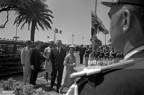 The Princess Margaret and her husband Tony ArmstrongJones arrive to the Palace of the Festivals Cannes 1966 HA19553