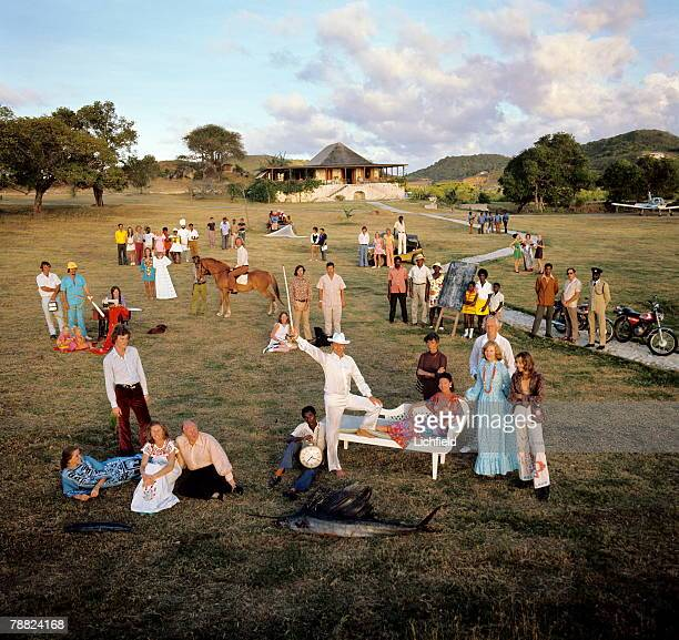 HRH The Princess Margaret photographed with the community on Mustique on 24th February 1973 Front row Liz Paget The McGilly Cuddy of the Reeks...